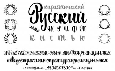 Cyrillic alphabet. Title in Russian - calligraphy font brush. Set of uppercase, lowercase letters, numbers and special symbols. Wreaths grass for your design stock vector