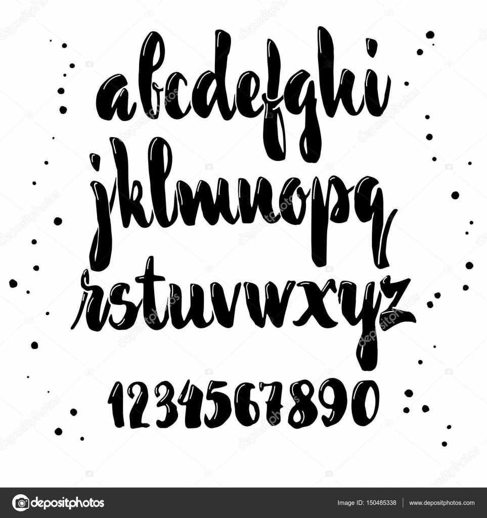 Vector Alphabet Calligraphic Font Unique Custom Characters Hand Lettering For Designs