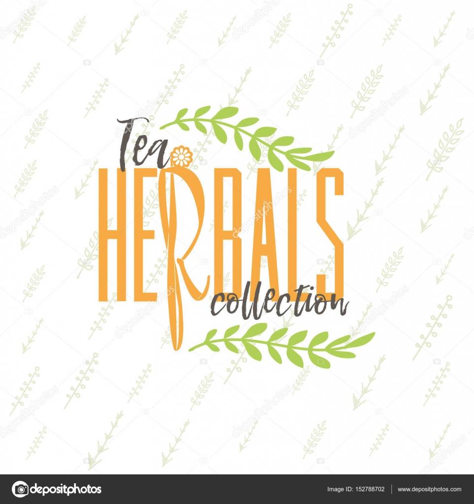 herbal tea collection badge design sticker stamp handmade