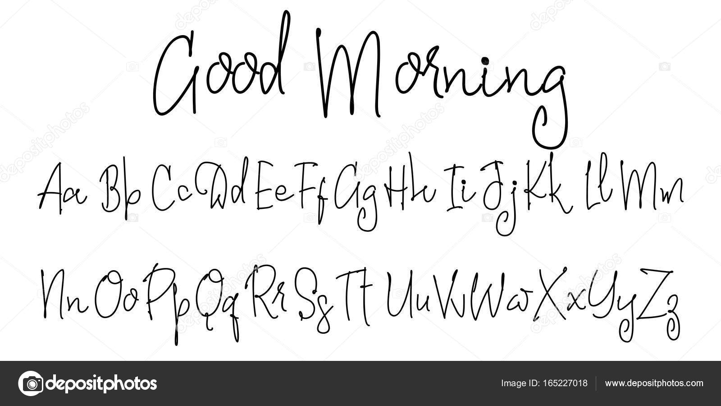 Alfabeto vectorial. Buenos días. Fuente caligráfica. Caracteres ...
