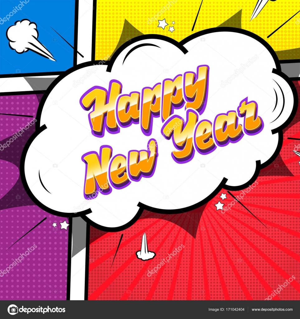 Frohes neues Jahr. Comic-Text-Sound-Effekte — Stockvektor © zao4nik ...