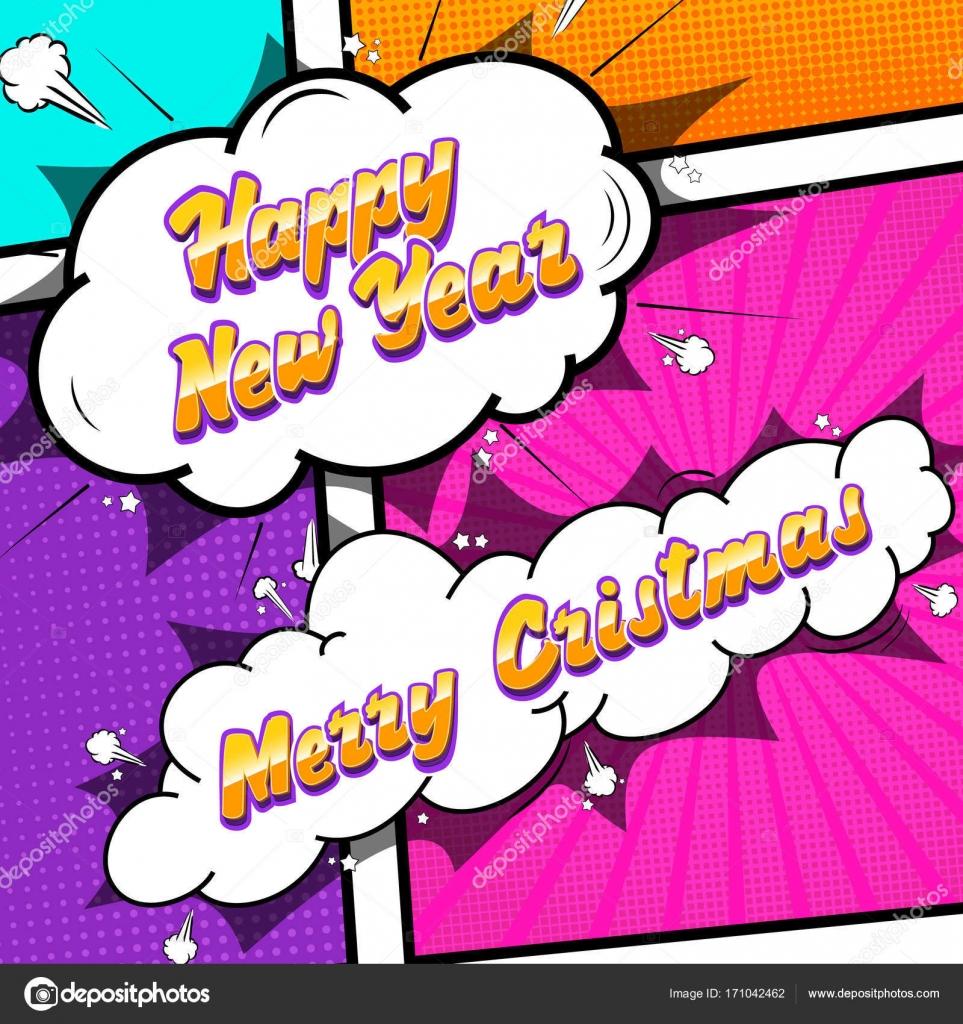 Frohe Weihnachten und glückliches neues Jahr. Comic-Text-Sound ...