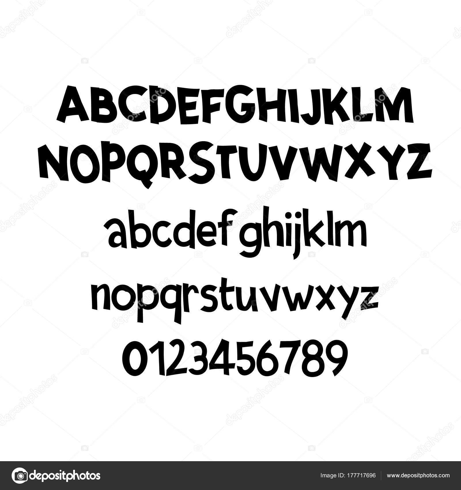 Comic Lettering Font Vector AlphabetHand Script Typography Alphabet For Designs