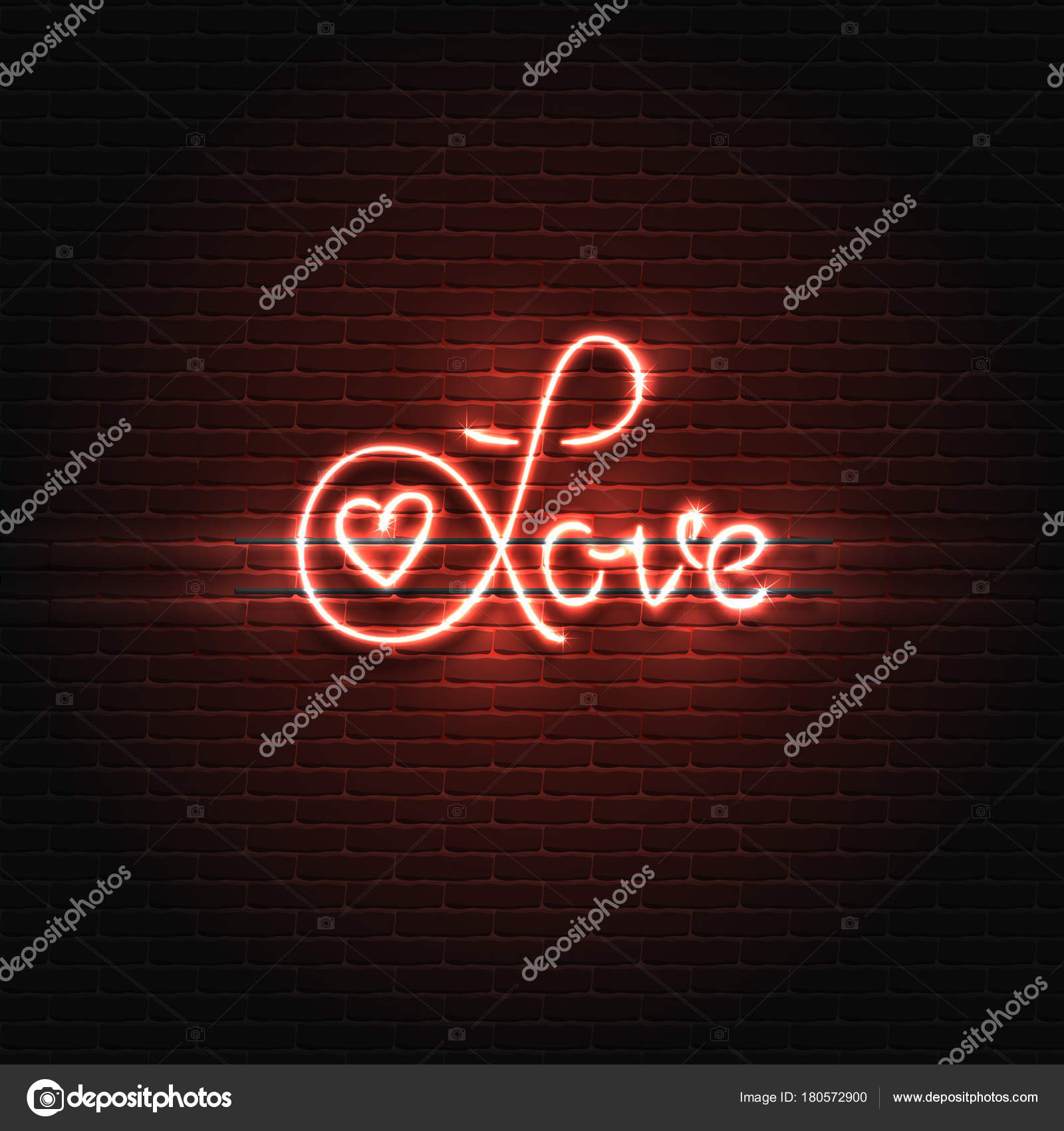 Neon sign love the word love on a brick wall background element neon sign love the word love on a brick wall background element for the buycottarizona Choice Image