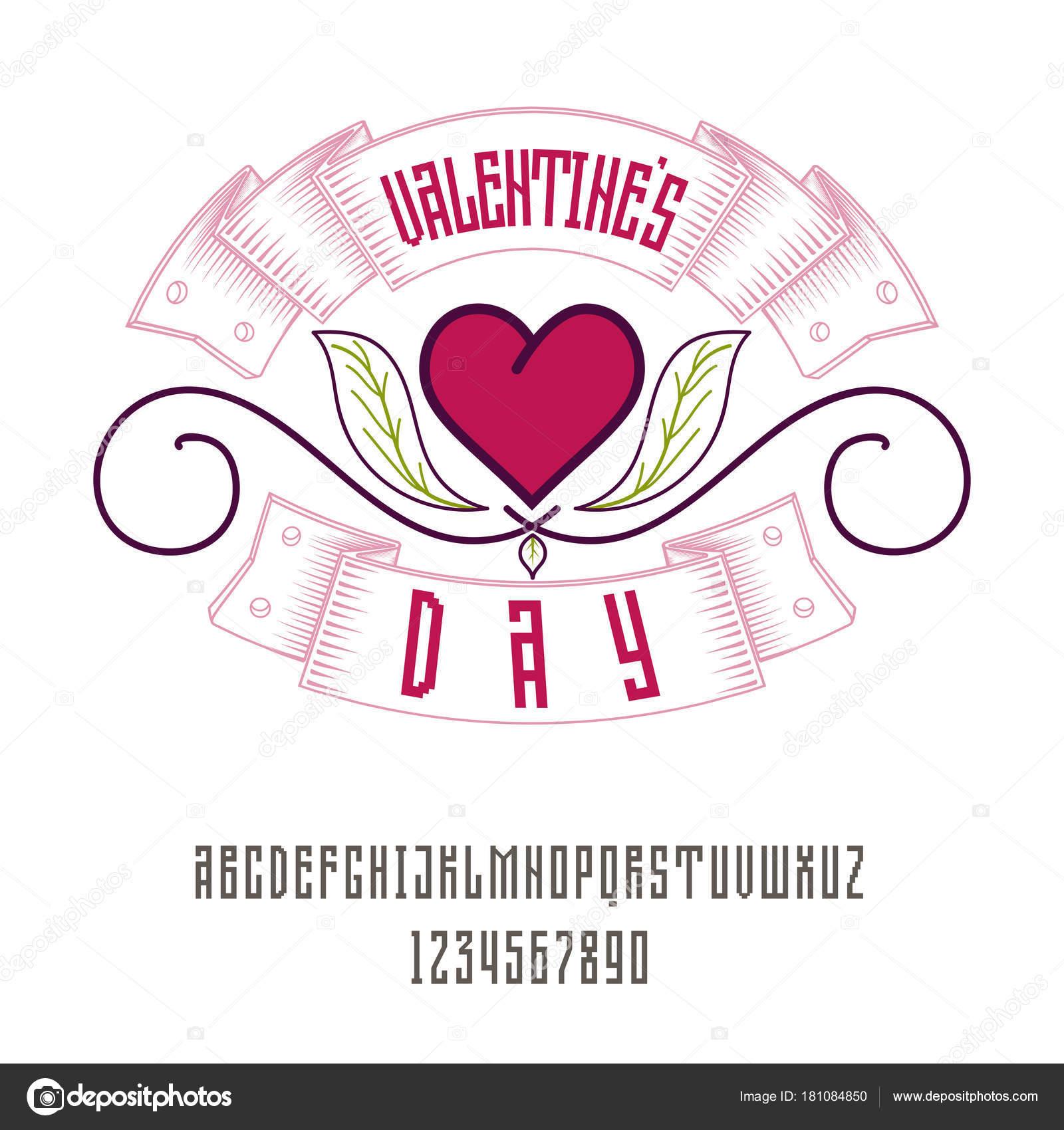Latina alfabeto geométrico - señal del día de San Valentín. Puede ...
