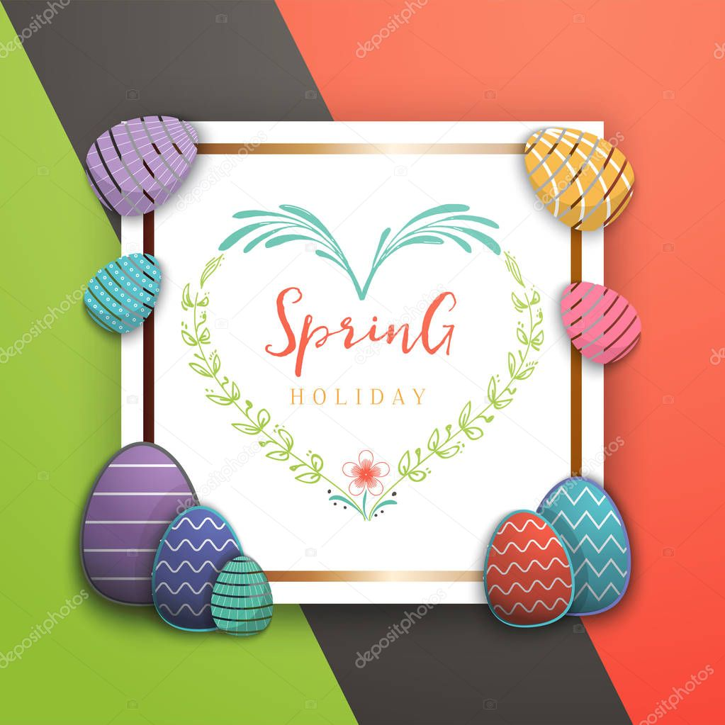 Spring - Easter is a beautiful badge, like a sticker for social networks.