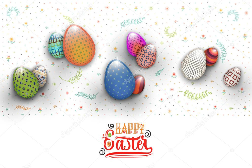 Spring Easter is a beautiful badge lettering and the pattern of eggs and flowers, like a banner for social networks .