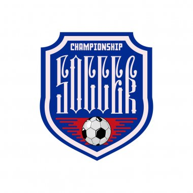 Soccer - banner concept, inscription ligature, with soccer ball. Letters are of Russian style.