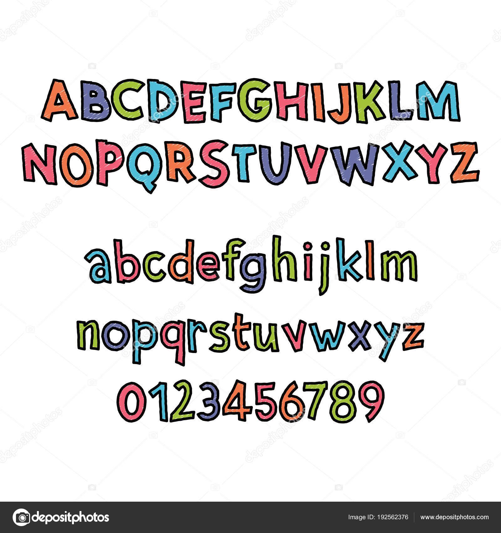 着色されたラテン系のアルファベット。かわいい漫画のスタイルで子供の