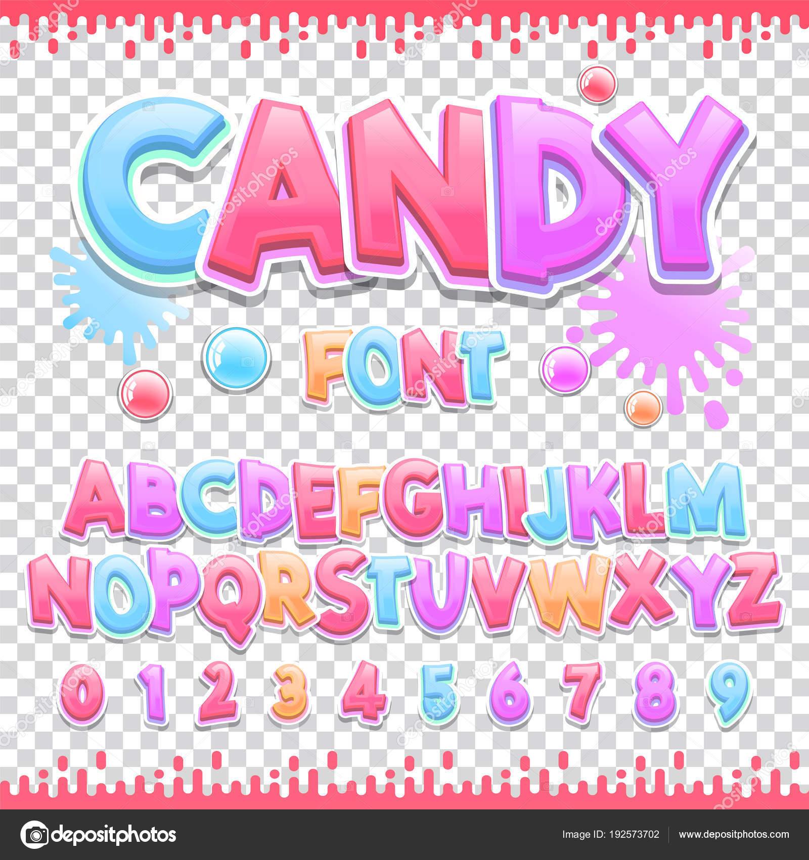 キャンディ ラテン フォント デザイン甘い Abc の文字と数字