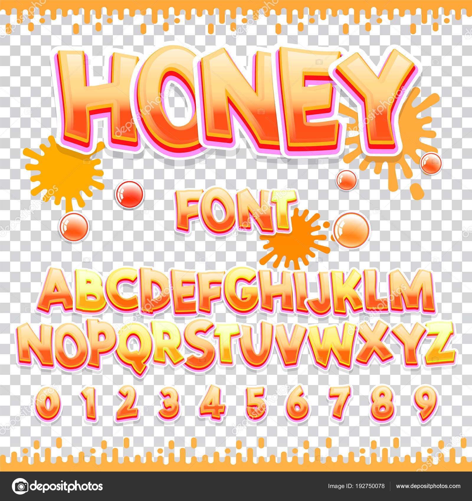 蜂蜜ラテン フォント デザイン甘い Abc の文字と数字