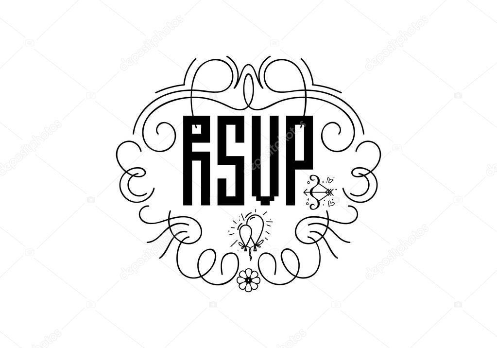 RSVP badge, lettering invitation. For the organization of wedding events.