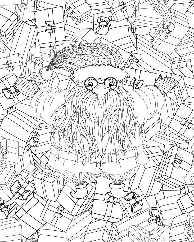 Santa-Claus-gifts-Coloring-for-adults — Stock Vector © SMSka #125927312