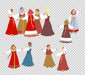 set-cartoon-character-Russia-dance-girl-bride-old-national-legends