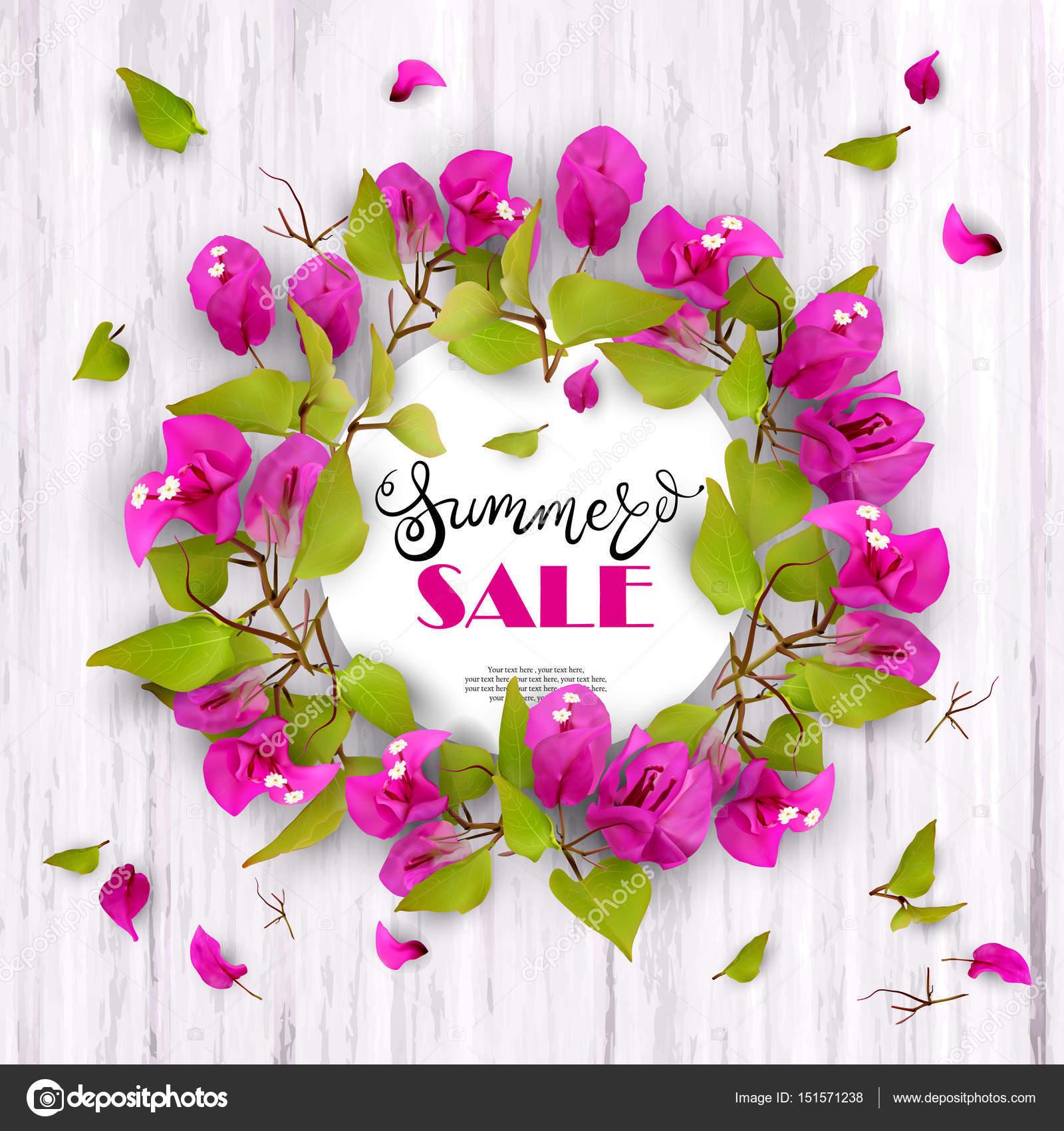 Summer sale discount concept tropical flowers 09 stok vektr 3d yaz satlk ndirimler sezon sonu arka plan tropik iekler begonvil ile reklam ve kar ahap beyaz yaz kavram vektr izim smska vektr izmirmasajfo