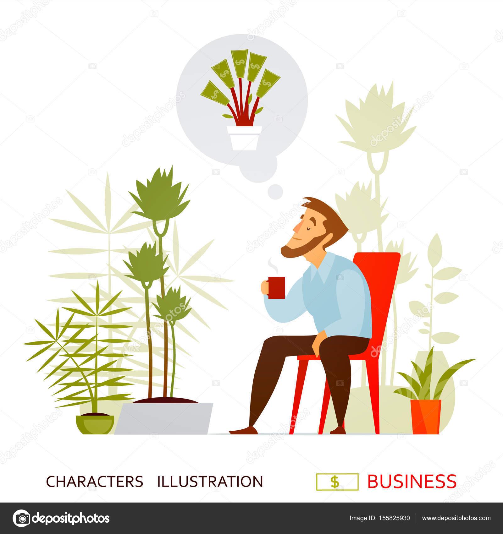 Businessman Employee Office Business Work Money Dreams Tea border=