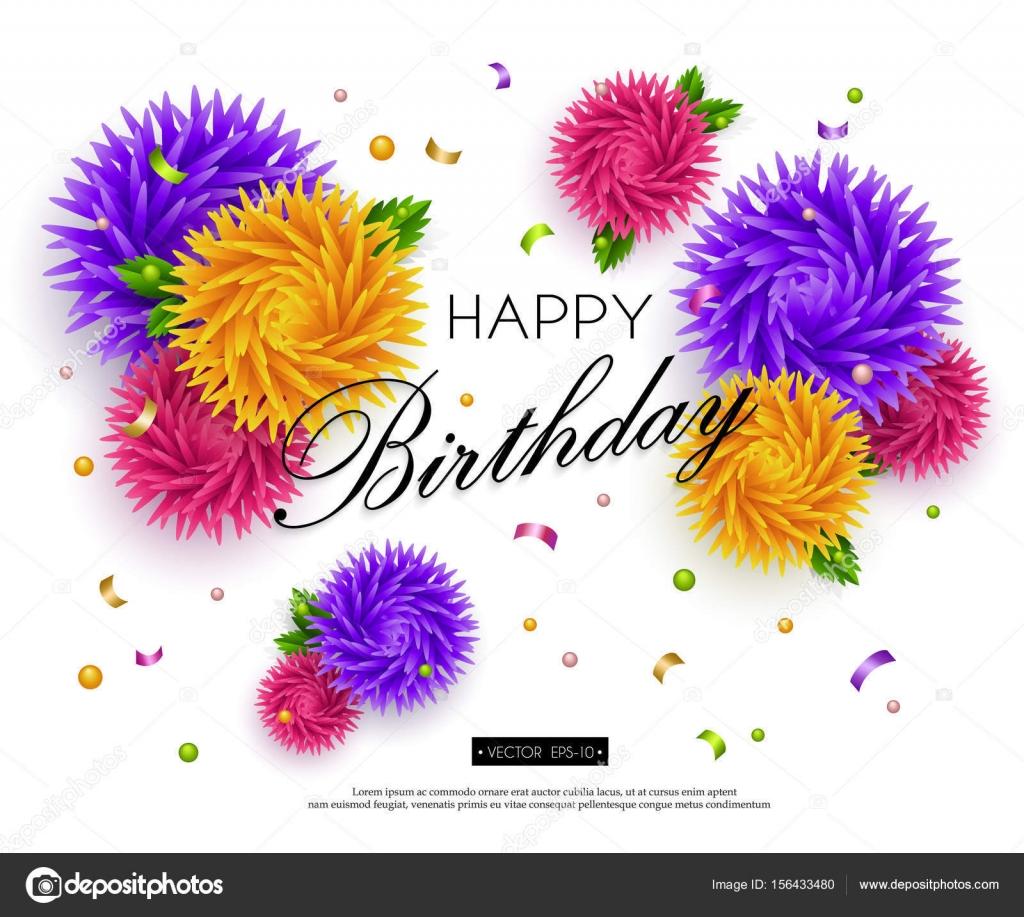 Happy Birthday Banner 3d Flower Paper Art 2 Stock Vector Smska