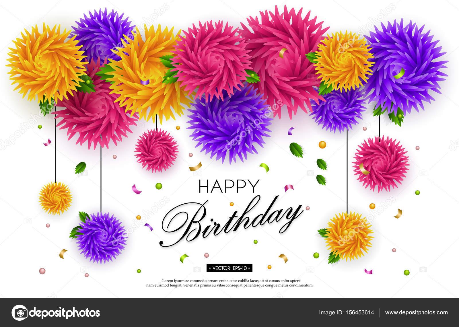 Happy Birthday Banner 3d Flower Paper Art 4 Stock Vector Smska