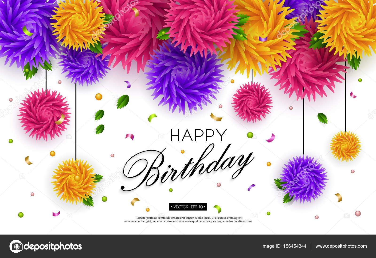 Happy Birthday Banner 3d Flower Paper Art 3 Stock Vector Smska