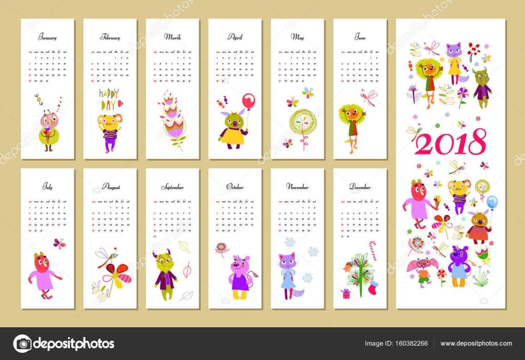 2018, calendar, monster, cute, monthly, print — Stock ...