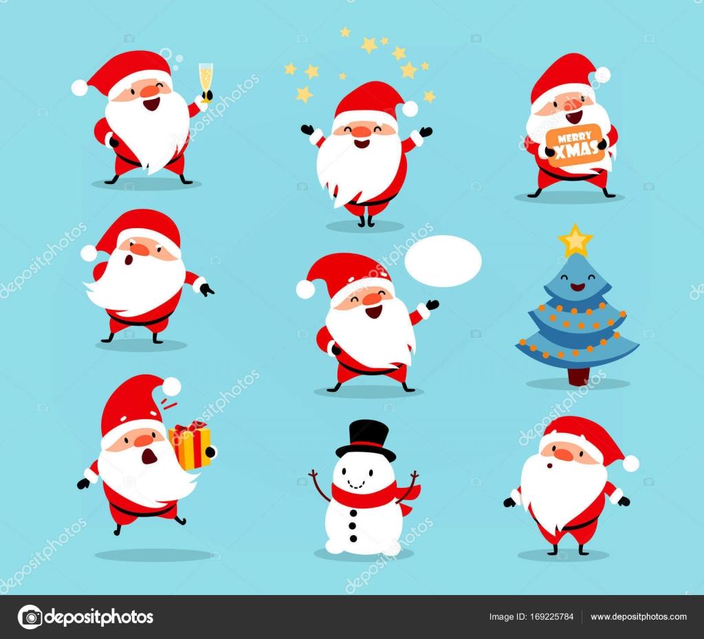 Sammlung von Weihnachten Santa Claus. Reihe von lustigen Comic ...