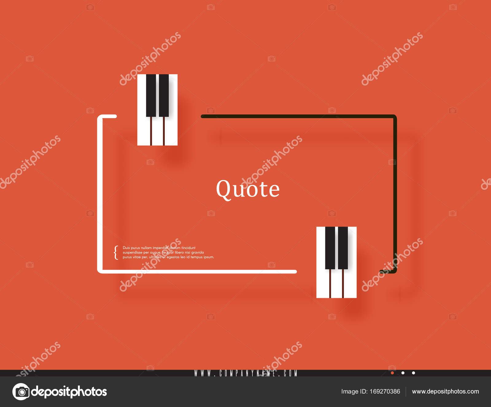 Musical Quote In A Frame Creative Quotation The Form Of Piano Keyboard Diagram Keys Element Modern Design Elements For Classical Music Isolated On Orange Background