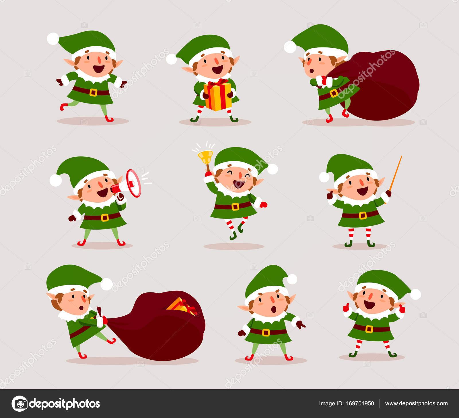 Foto Carine Di Natale.Set Di Elfi Svegli Di Natale Giocosi Raccolta Di Carine