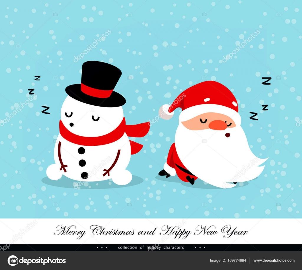 Immagini Natale Umoristiche.Babbo Natale E Pupazzo Di Neve Di Sonno Caratteri Emotivo Natale E