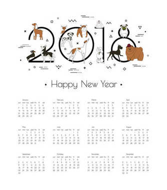 Calendar 2018 with different breeds of dogs. Symbol of the year in the Chinese calendar. Memphis style. Minimalism. Vector illustration. Isolated on white background