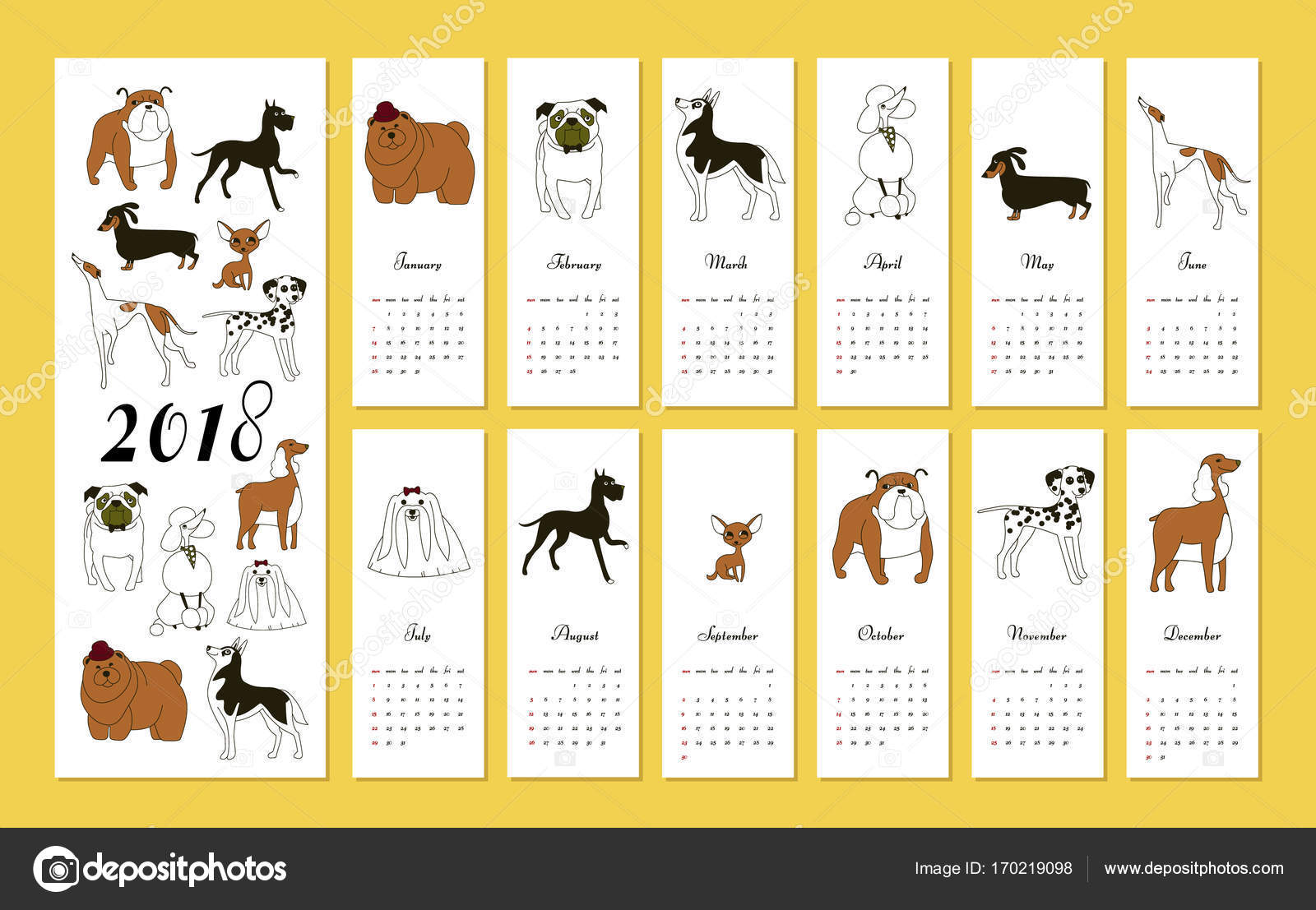 Chinese Calendar Illustration : Monthly creative calendar with dog breeds concept