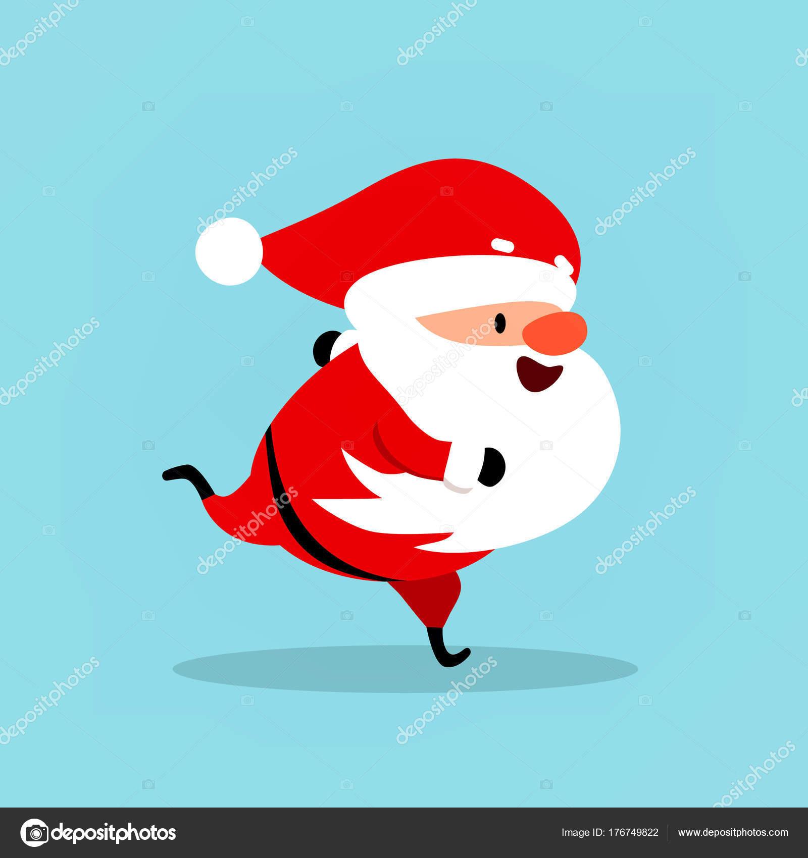 Lustige Weihnachtsmann läuft, eilt, geht für Sport. Weihnachten ...