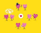 Fényképek Egy sor animált szív, egy szerető srác és egy lány a különböző helyzetekben. Elszigetelt csoportok karakterek, Valentin-nap. Vektoros illusztráció
