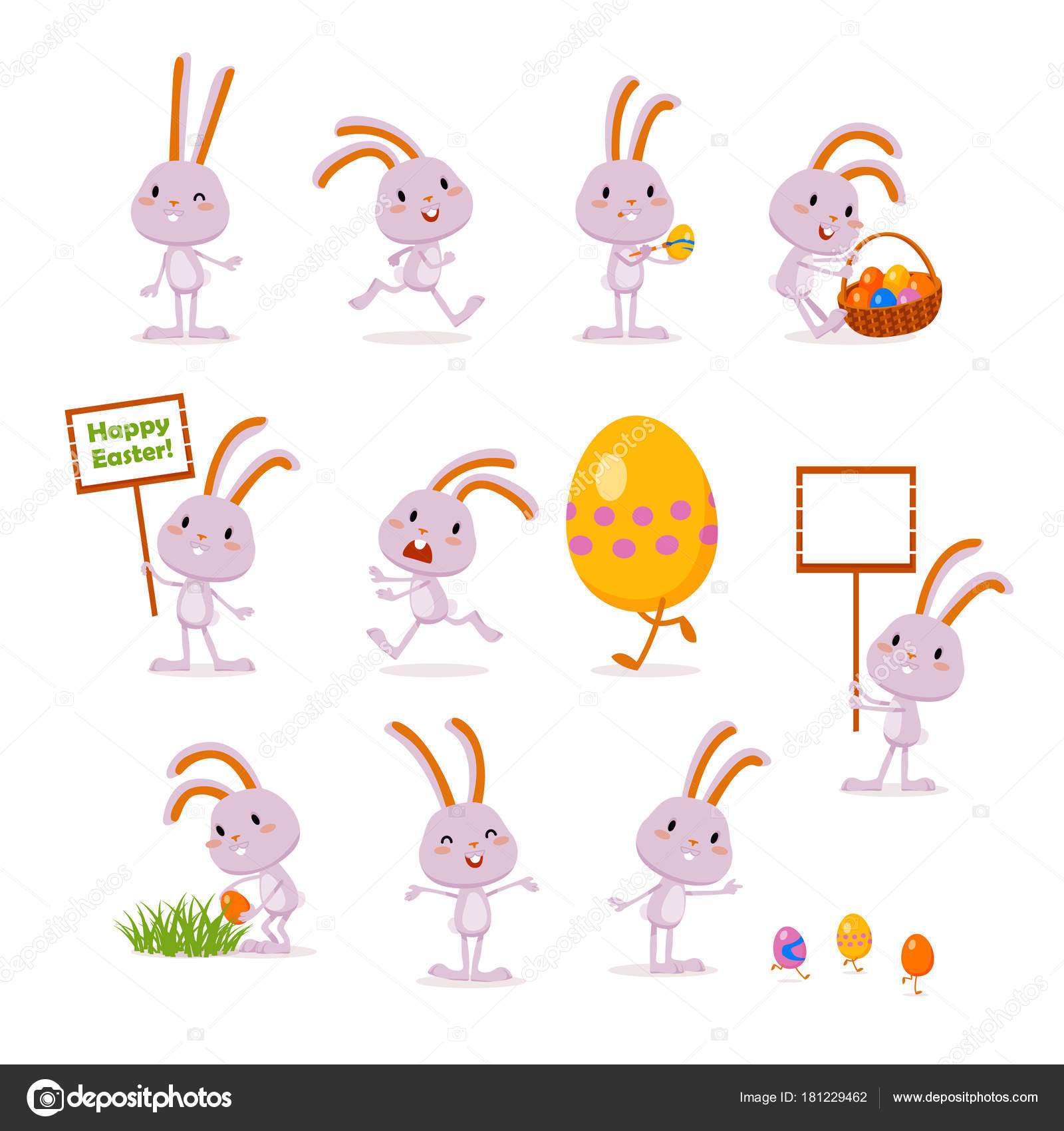 イースターバニーと卵。かわいい感情的な文字のセット。お祭りのデザイン