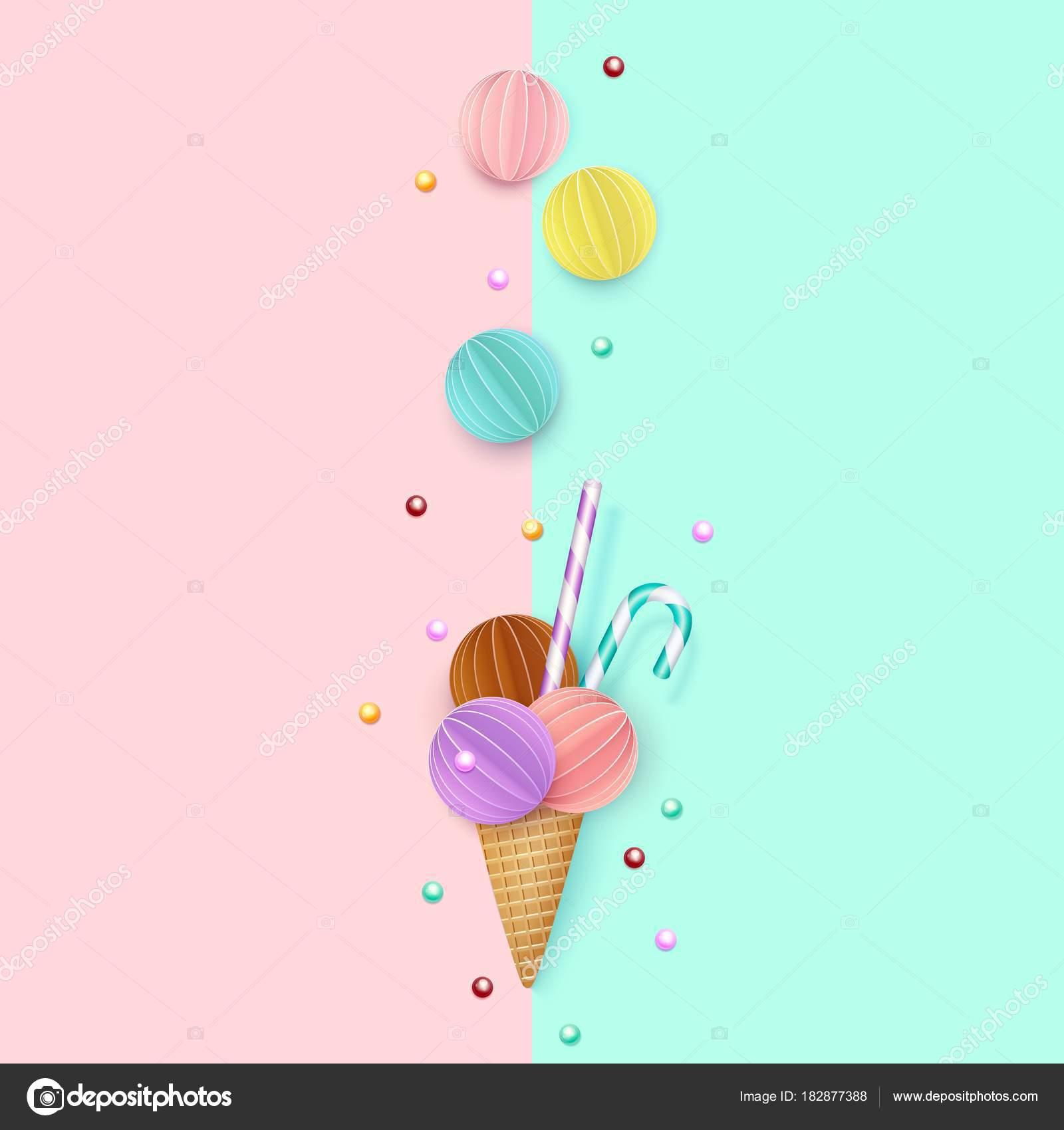 Ice Cream Cone Wallpaper: Ice Cream Cone, Background, 3D, Pastel. Paper Cut Style