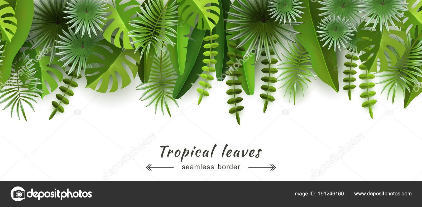 Tropical Leaves Seamless Border Isolated On White Background Summer And Seasonal Design Travel Advertising And Tourism Volumetric Image Cut Paper Vector Illustration Stock Vector C Smska 191246160 Small hawaiian flowers clip art. https depositphotos com 191246160 stock illustration tropical leaves seamless border isolated html