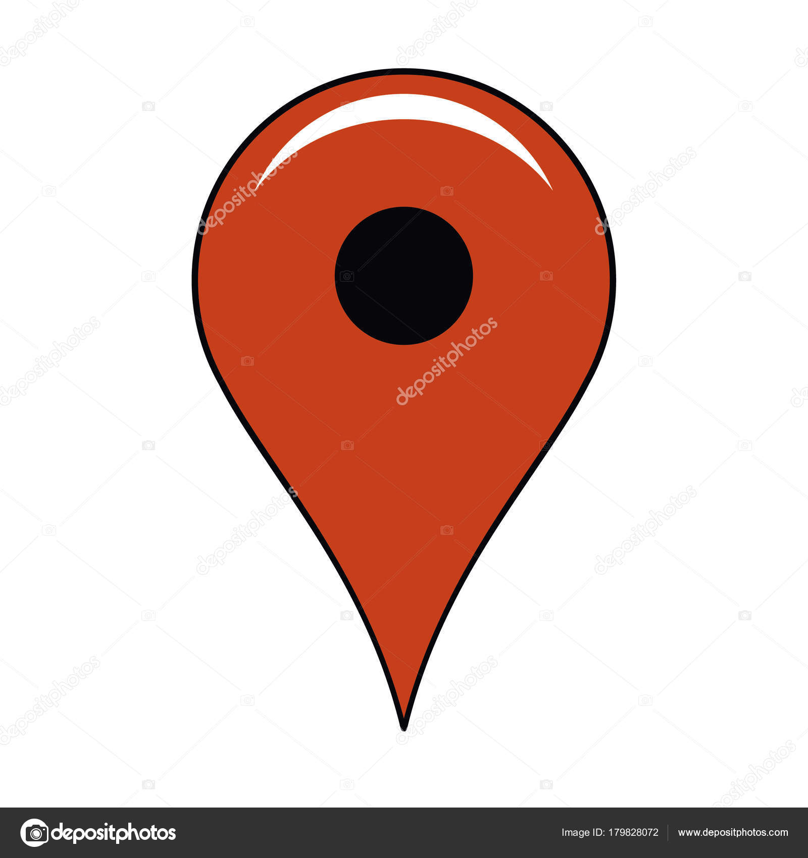 Location Pin Icon Simple Red Location Pin Vector Icon White