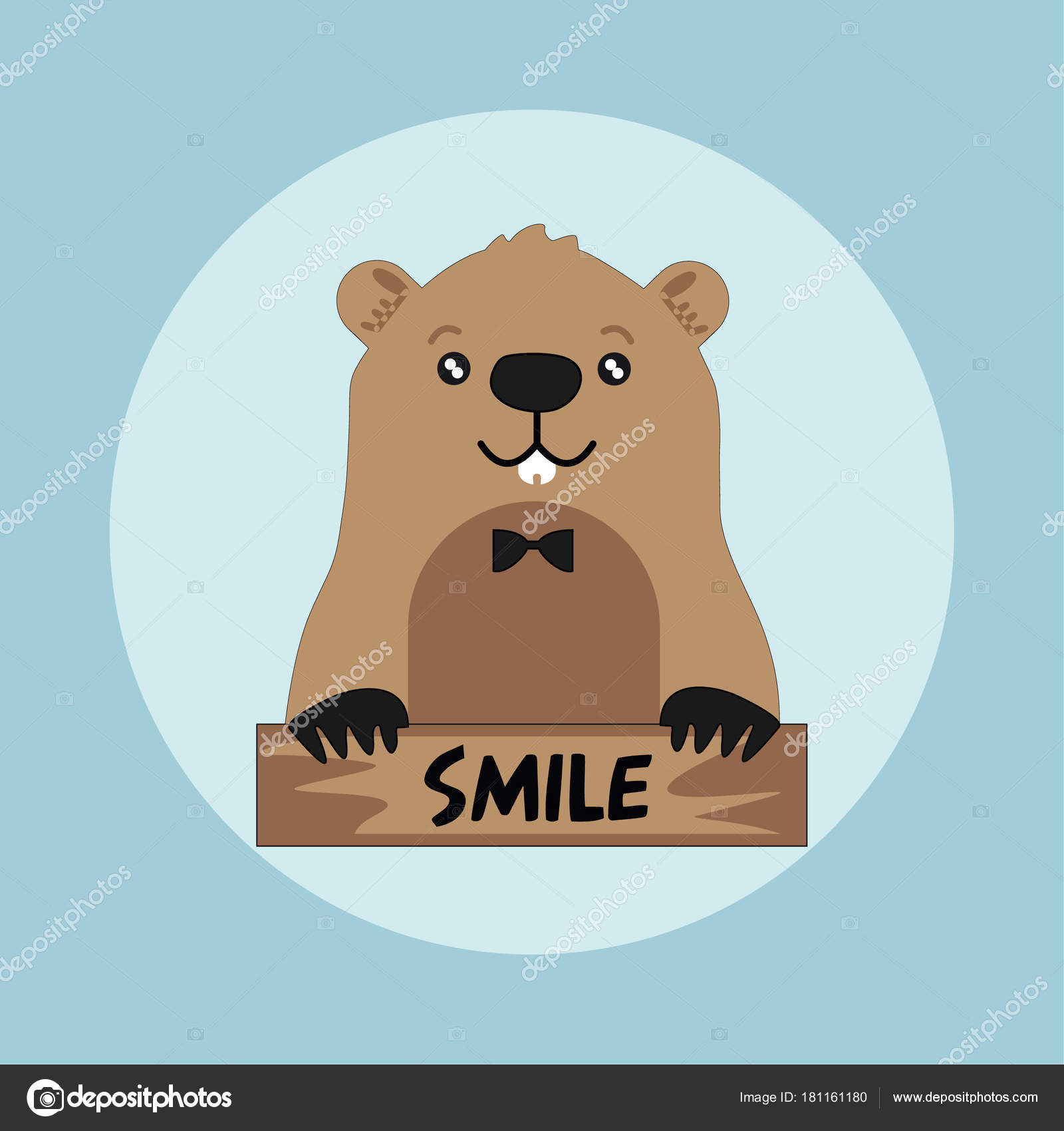 funny groundhog black hat blue background smile card vector design
