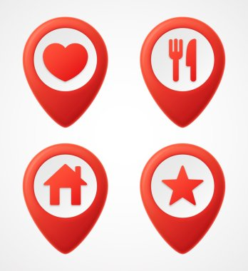 3d Map pointer icons. Map Markers set. Vector illustration