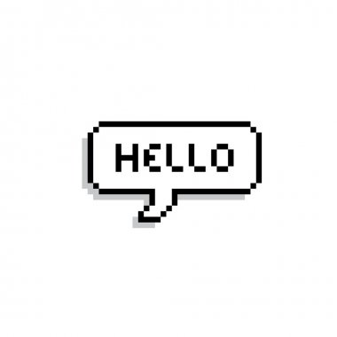 Pixel text bubble. Speech bubble icon. Vector illustration