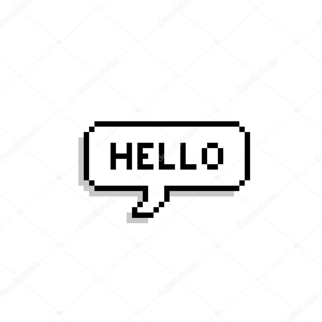 Pixel Text Bubble. Speech Bubble Icon