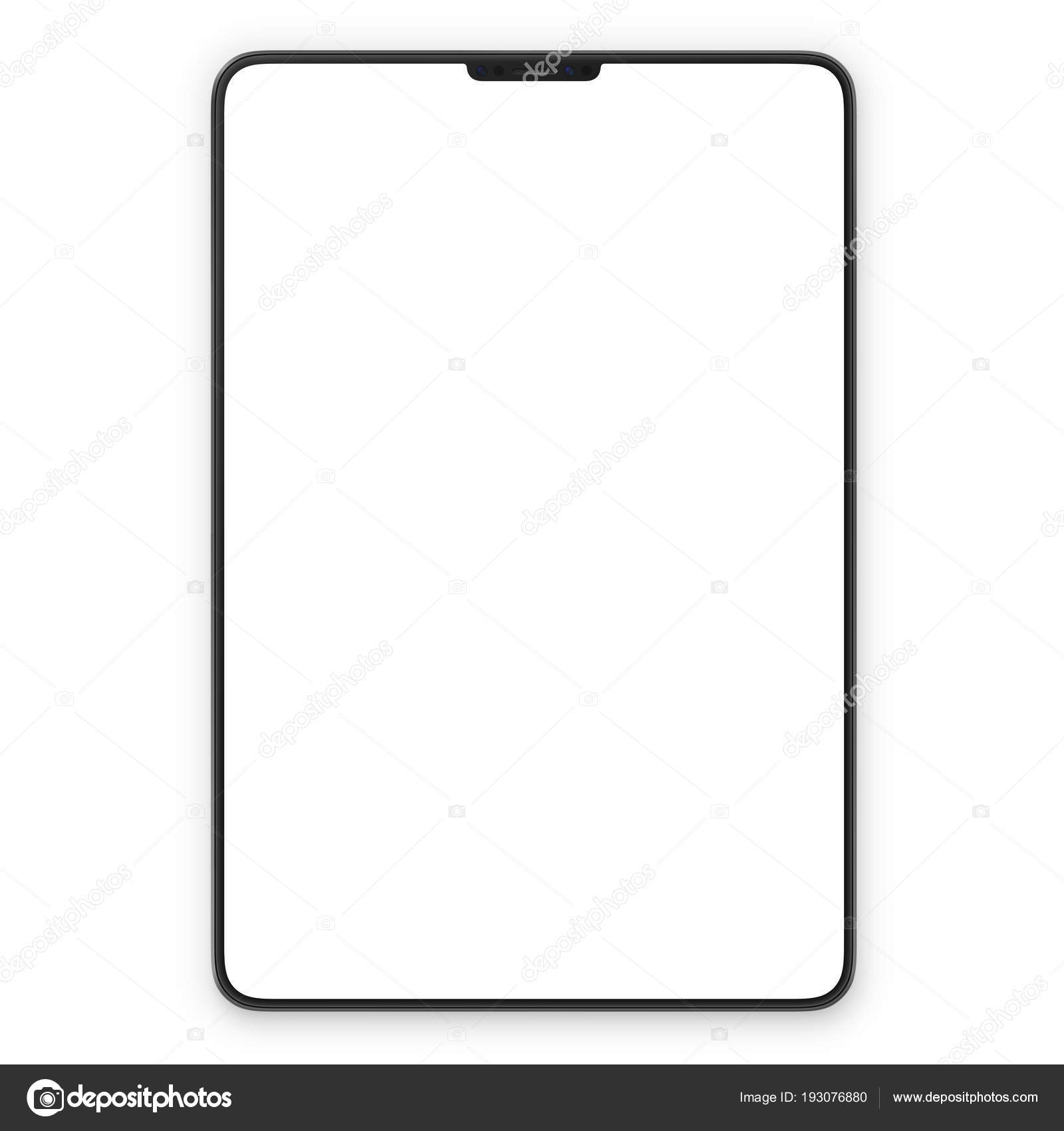 black tablet with blank white screen high detailed realistic tablet