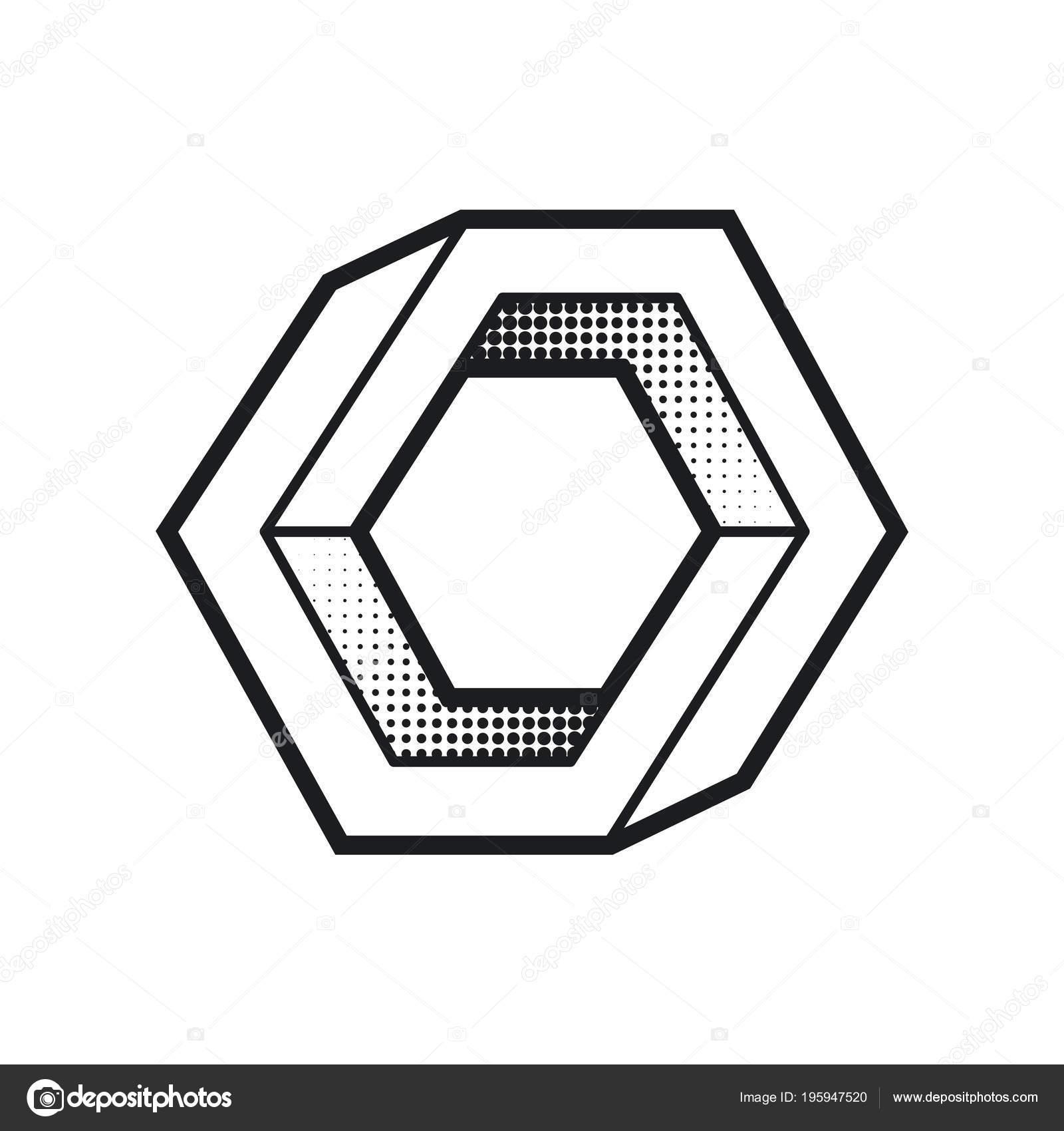 Impossibile Forma Illusione Ottica Elemento Disegno Web Linea Design