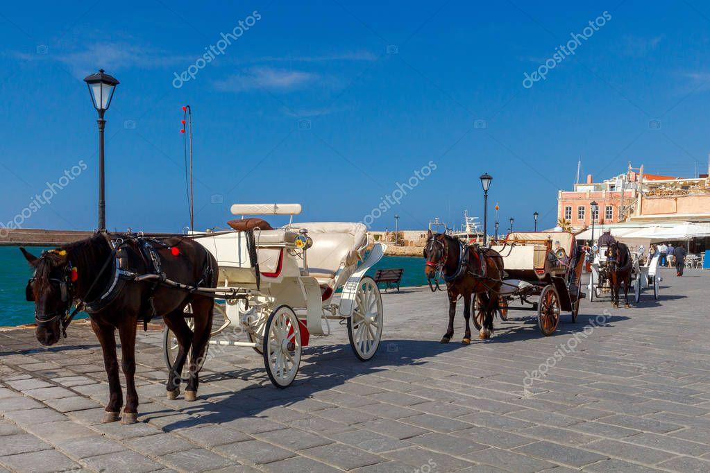 Chania. Horse-drawn carriage.