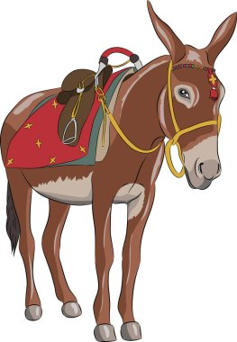 Vector. A donkey with a saddle.