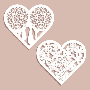 Set stencil lacy hearts with carved openwork pattern. Template for interior design, layouts wedding cards, invitations. Image suitable for laser cutting, plotter cutting or printing.