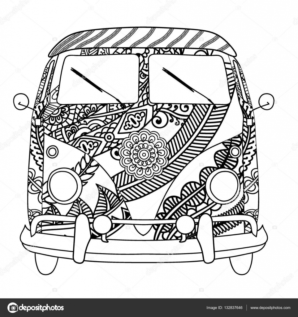 vintage car a mini van in zentangle style  hand drawn