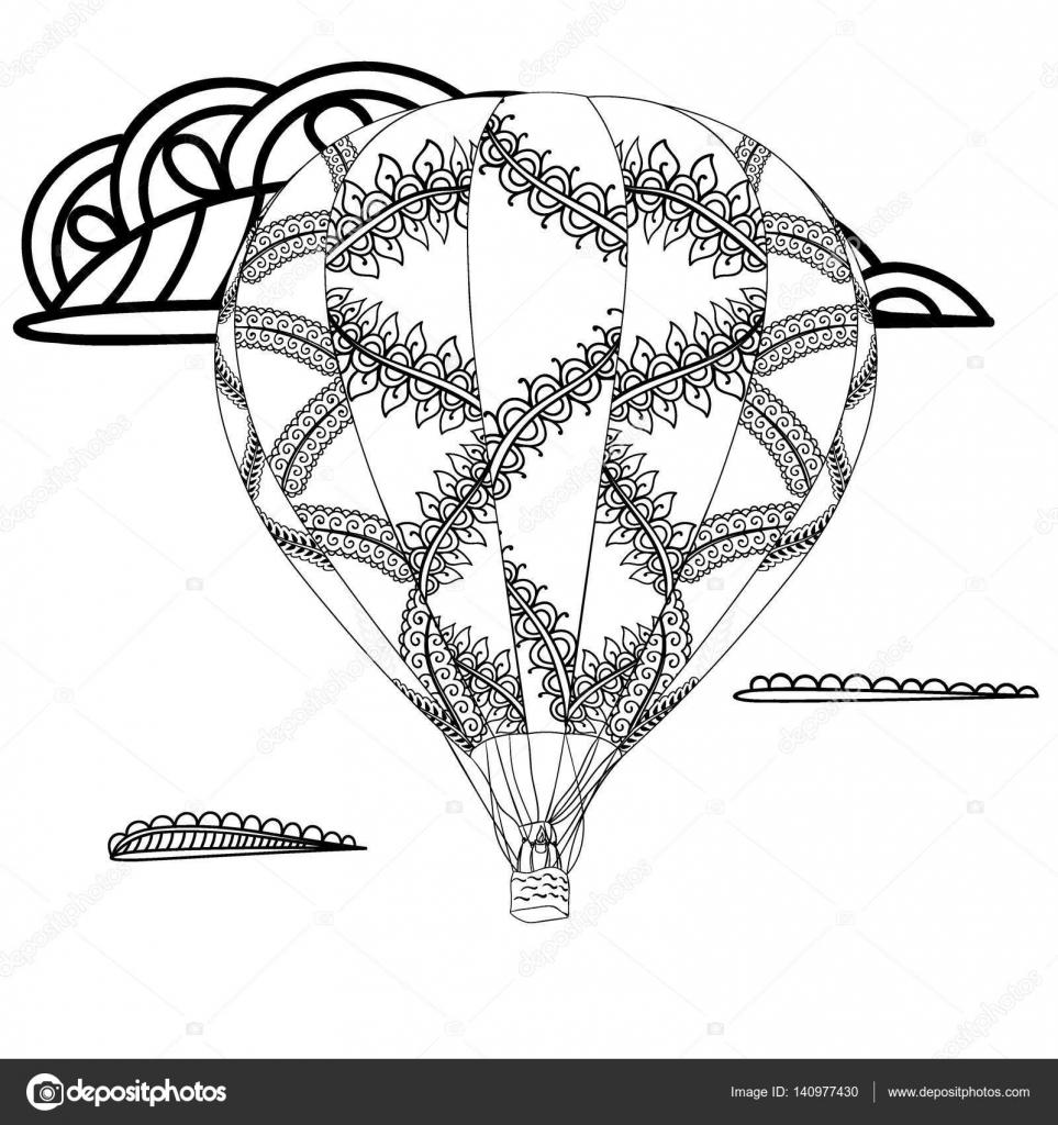 Sommer-Thema. Black And White air Ballon und doodle Abbildung ...