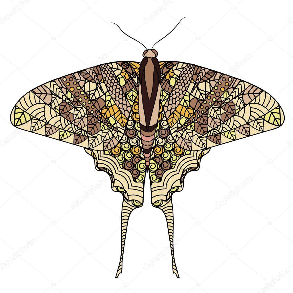 Красочные бабочки с этническими каракули узором. Zentangle ...