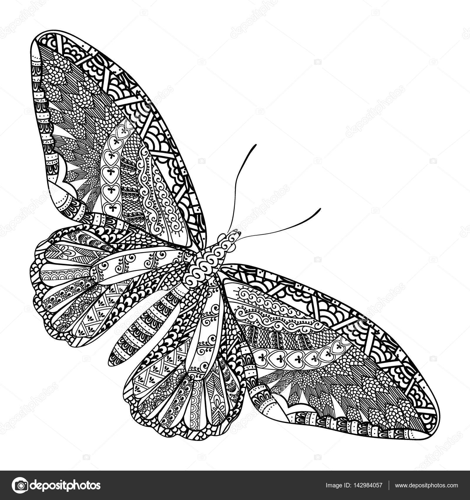 Schmetterling Mit Ethnischen Doodle Muster Zentangle Inspirierte