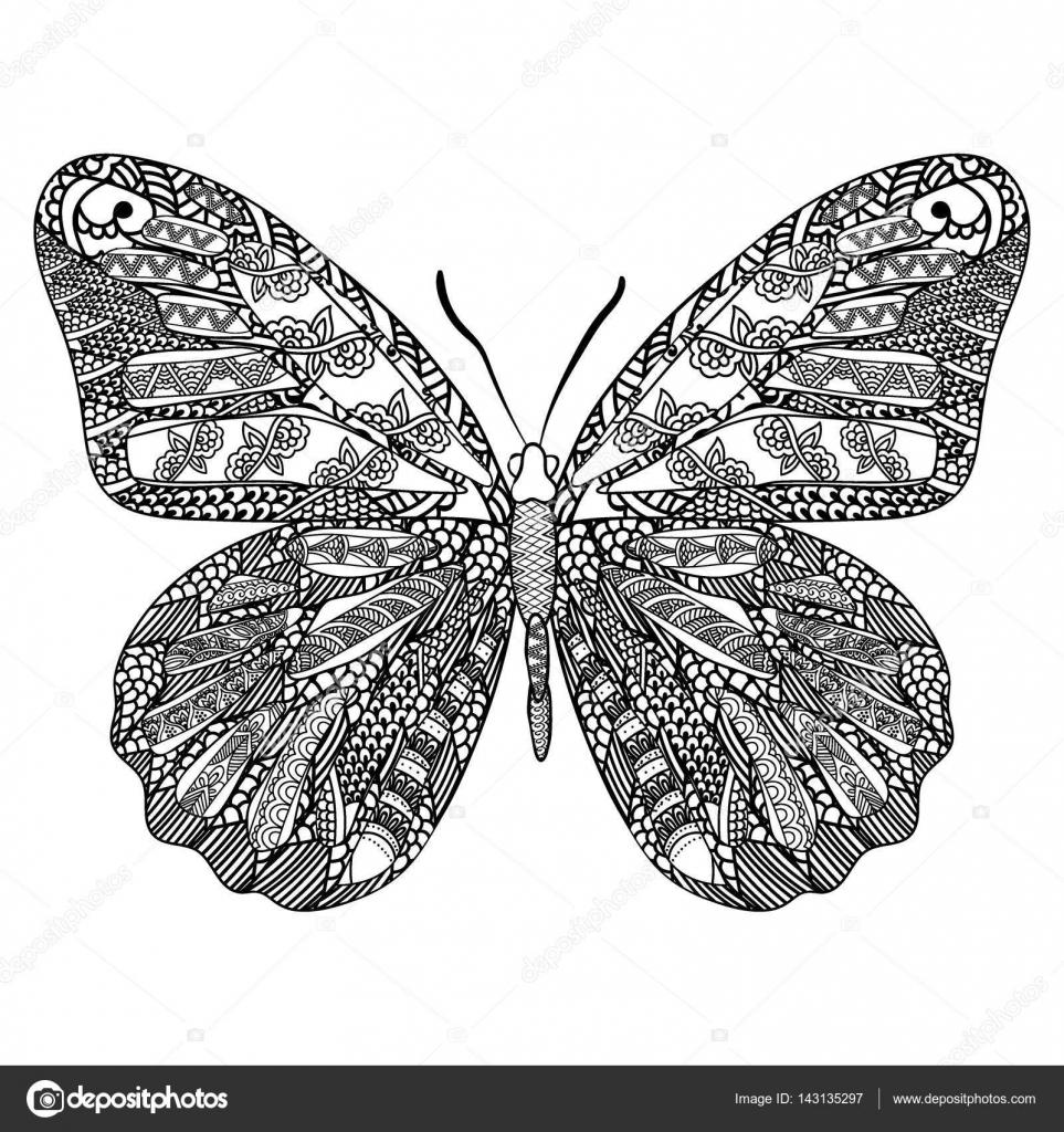 Ausmalbilder Mandala Schmetterling : Schmetterling Mit Ethnischen Doodle Muster Zentangle Inspirierte